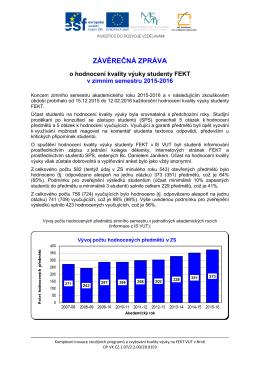 Hodnocení výuky Závěrečná zpráva studijních proděkanů o