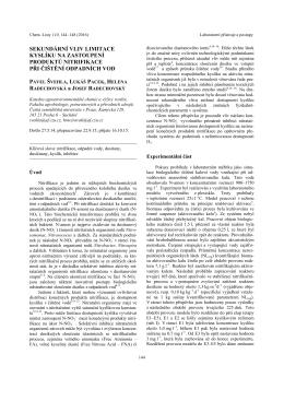 sekundární vliv limitace kyslíku na zastoupení produktů nitrifikace při