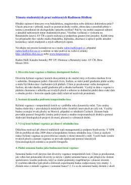 Témata studentských prací nabízených Radimem