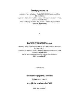 Česká pojišťovna a.s. DATART INTERNATIONAL, a.s. hromadnou