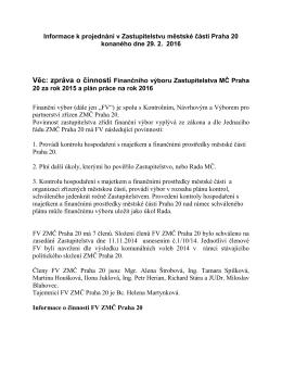 Informace k projednání v Zastupitelstvu městské části Praha 20