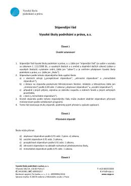 Stipendijní řád VŠPP - Vysoká škola podnikání, a.s.