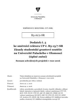 B3-16/2-SR Dodatek č. 5 ke směrnici rektora UP č. B3-13/7