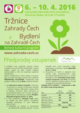 Předprodej vstupenek - Výstaviště Zahrada Čech