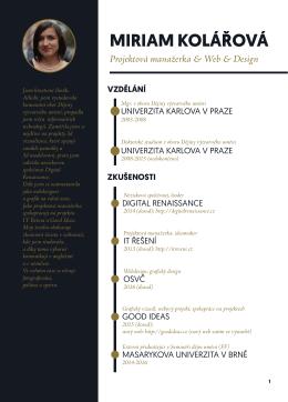 MIRIAM KOLÁŘOVÁ Projektová manažerka & Web & Design