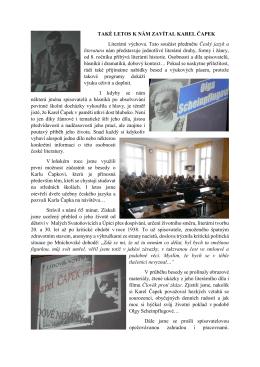 TAKÉ LETOS K NÁM ZAVÍTAL KAREL ČAPEK Literární výchova
