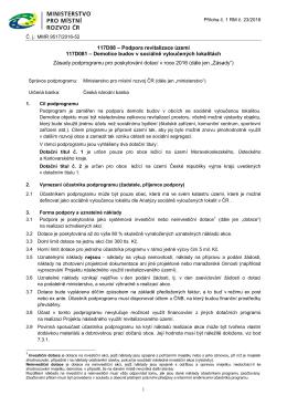 Zásady podprogramu - Ministerstvo pro místní rozvoj