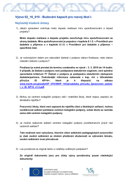 Výzva 02_16_010 - Budování kapacit pro rozvoj škol I.