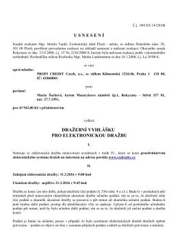 Usnesení-draž. vyhl. na 31.3.2016-povinná Marie Šachová