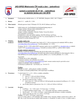 Rozpis JKD-SPED Mistrovství ČR