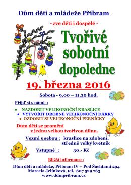 19. března 2016 - Dům Dětí a Mládeže Příbram