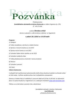 Pozvánka na členskou schůzi a volební řád 18. 3