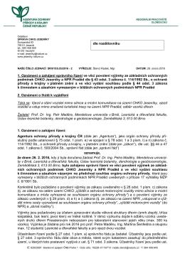 Zahájení řízení SR/0153/JS/2016 ve věci povolení výjimky za