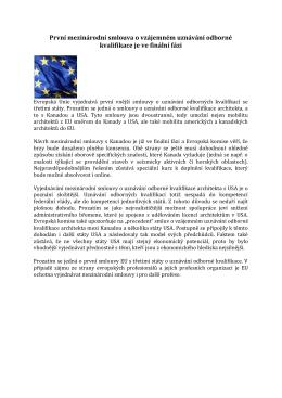 První mezinárodní smlouva o vzájemném uznávání odborné