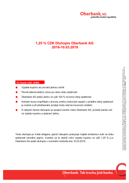 1,25 % CZK Dluhopis Oberbank AG 2016