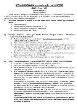 SCÉNÁŘ UBYTOVÁNÍ pro akademický rok 2016/2017