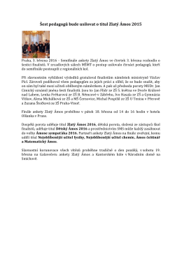 Šest pedagogů bude usilovat o titul Zlatý Ámos 2015