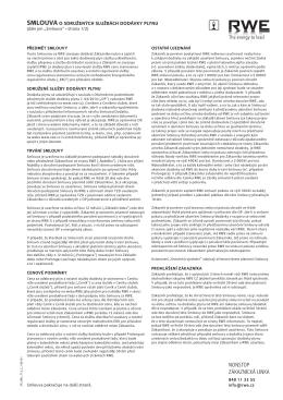 smlouva o sdružených službách dodávky plynu
