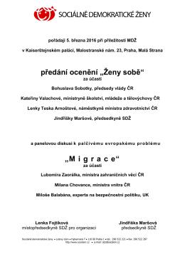 Pozvánka - Ocenění Ženy sobě a diskuze Migrace