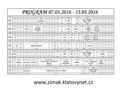 PROGRAM 07.03.2016 - 13.03.2016 www.zimak.klatovynet.cz