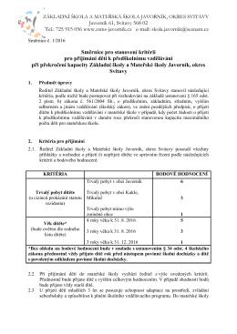 Kritéria přijetí dítěte k předškolnímu vzdělávání pro zápis dětí na