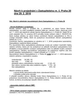 Návrh k projednání v Zastupitelstvu m. č. Praha 20 dne 29. 2. 2016