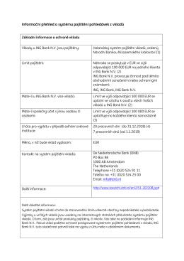 Informační přehled o systému pojištění pohledávek z