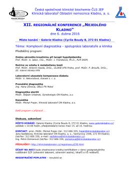 Předběžný program - Česká společnost klinické biochemie