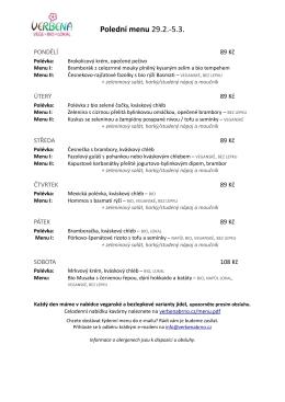 Obědová menu na tento týden ZDE