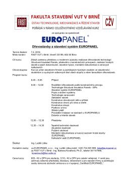 Dřevostavby a stavební systém EUROPANEL