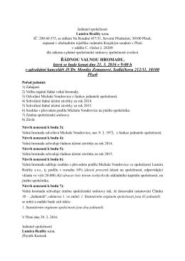 Pozvánka na valnou hromadu PDF
