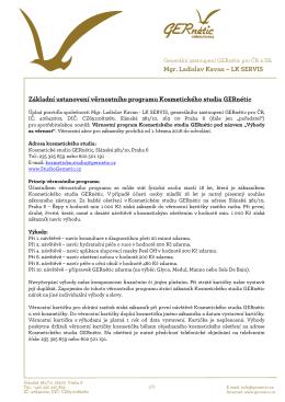 Mgr. Ladislav Kavan – LK SERVIS Základní ustanovení věrnostního