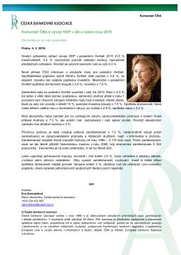 Komentář ČBA - Česká bankovní asociace