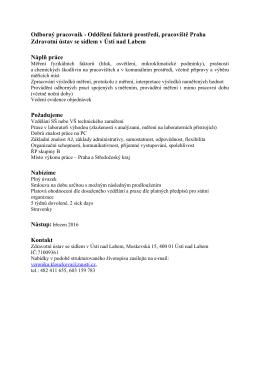 Odborný pracovník - Oddělení faktorů prostředí, pracoviště Praha