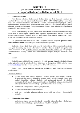 Kritéria RM - Město Kolín