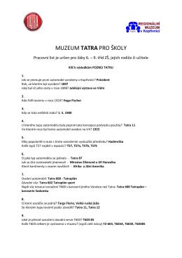 Klíč k pracovnímu listu - Technické muzeum Tatra