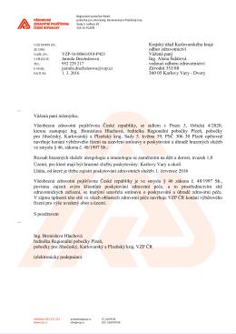 Krajský úřad Karlovarského kraje odbor zdravotnictví Vážená