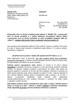 Ministerstvo životního prostředí Odbor výkonu státní správy