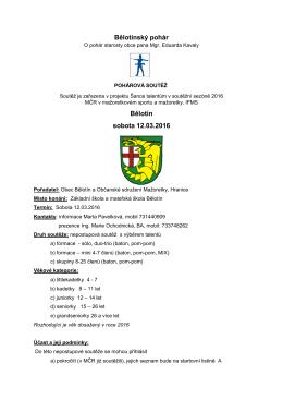 Bělotínský pohár Bělotín sobota 12.03.2016