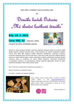 Mé vlastní loutkové divadlo - Dům dětí a mládeže Litovel