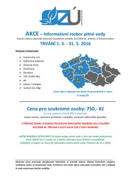 AKCE – Informativní rozbor pitné vody