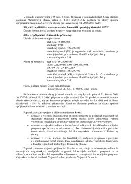 Poplatky spojené s přijímacím řízením 2016/2017