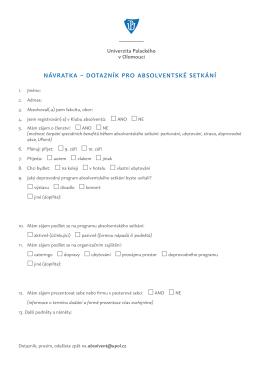 návratka – dotazník pro absolventské setkání