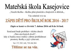 Zápis dětí do MŠ Kasejovice pro školní rok 2016