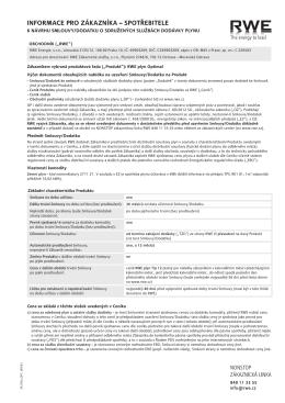 Smlouva o sdružených službách dodávky plynu - RWE