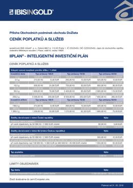 ceník poplatků a služeb iiplan® - inteligentní investiční plán
