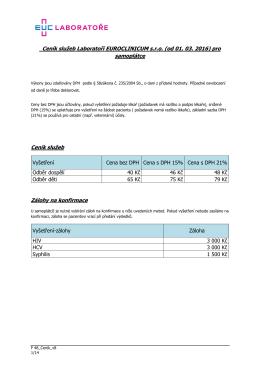 Ceník vyšetření - Laboratoře EUROCLINICUM