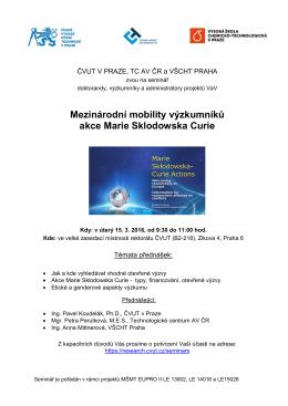 """Pozvánka """"Mezinárodní mobility výzkumníků akce Marie"""