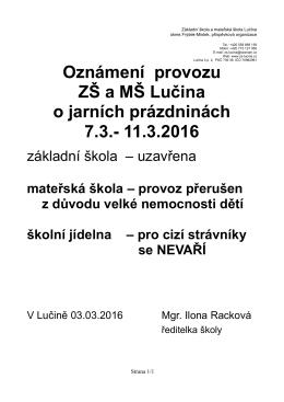 Oznámení provozu ZŠ a MŠ Lučina o jarních prázdninách 7.3.