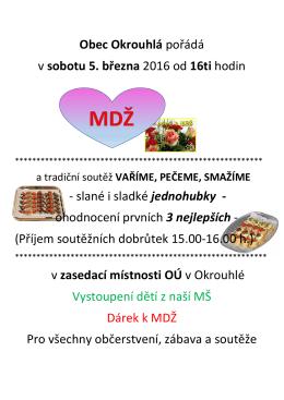 MDŽ a PEČEME, VAŘÍME, SMAŽÍME 5. 3. 2016